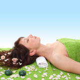 Young Woman Relaxing In Spa Center Royalty Free Stock Photos