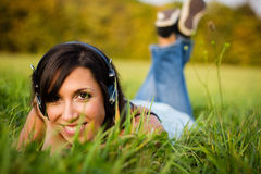 Young woman relaxing in meadow Stock Photo