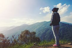 Young woman relaxing in natural park on the moutain royalty free stock image