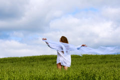 Young woman relaxing on nature. Stock Photos