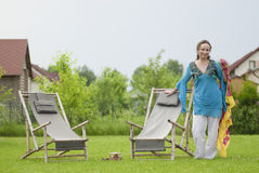 Young woman relaxing on nature Stock Photos