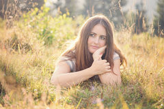 Young woman relaxing in the nature Stock Photo