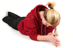 Free Young Woman Relaxing On Floor Stock Photography - 8390472