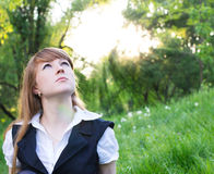 Young woman relaxing outdoor Royalty Free Stock Photos