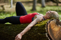 Young woman relaxing outdoor Stock Photography