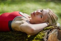 Young woman relaxing outdoor Stock Photos