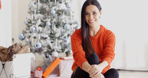 Young woman relaxing over the Christmas season Stock Photo