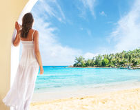 Young woman relaxing in a resort at summer Royalty Free Stock Image