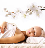 Young woman relaxing in SPA Royalty Free Stock Photo