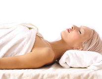 Young woman relaxing in SPA Stock Images
