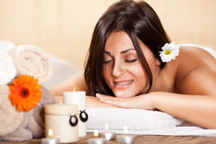 Young woman relaxing at the spa center Stock Photo