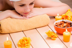 The young woman relaxing in spa in health concept Royalty Free Stock Photography