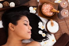 Young Woman Relaxing In A Spa Stock Photo