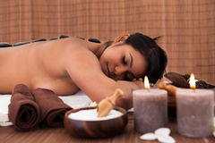 Young Woman Relaxing In A Spa Treatment Stock Images
