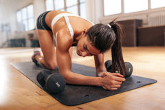 Young woman relaxing after workout Royalty Free Stock Images