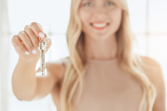 Young woman rent apartment real estate agency Royalty Free Stock Images