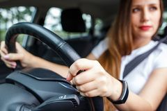 Young woman rent a car for travelling Stock Photos