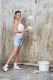 Young Woman Repair Apartment Royalty Free Stock Photo