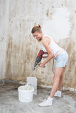 Young Woman Repair Apartment Royalty Free Stock Photos