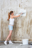 Young Woman Repair Apartment Royalty Free Stock Images