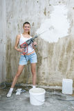 Young Woman Repair Apartment Stock Photography