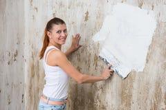 Young Woman Repair Apartment Stock Photos