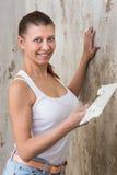 Young Woman Repair Apartment Stock Photo