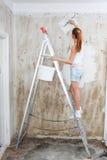 Young Woman Repair Apartment Stock Image