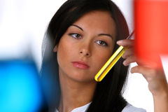 Young woman in a research lab. Young chemist in a chemical research laboratory Royalty Free Stock Photos