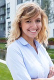 Young woman in a residential area Stock Photo