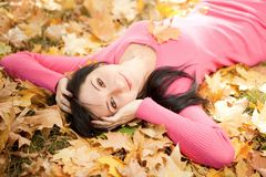 Young woman rest in the autumn park Stock Photos