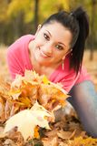 Young woman rest in the autumn park Stock Images