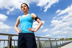 Young woman rest after run, jogging fit in the city. Stock Photo