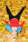 Young woman resting on the ground Royalty Free Stock Image