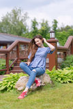 Young woman resting and having fun in the park Royalty Free Stock Photography