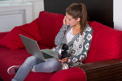 Young woman resting at her home Stock Photos