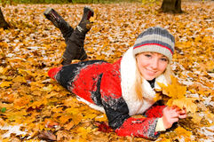 Young woman resting in the park Stock Image