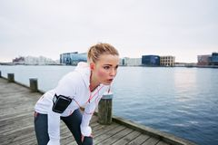 Young woman resting after run Stock Photography