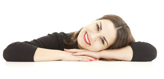 Young woman resting on the white table Stock Photo