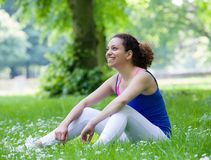 Young woman resting  after workout Stock Photo