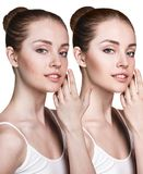 Young woman before and after retouch. Royalty Free Stock Image