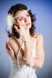 Young woman in retro bridal dress Royalty Free Stock Photo