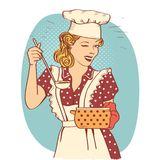 Young woman with retro clothes cooking soup on kitchen room.Retro color style illustration. Isolated on white vector illustration