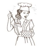 Young woman with retro clothes cooking soup on kitchen room.Retro style illustration. Isolated on white stock illustration