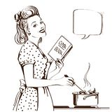 Retro young woman cooking soup in her kitchen room.Vector graphi. Young woman in retro dress cooking soup in her kitchen room.Reto style poster with speech Stock Illustration