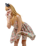 Young woman in retro floral  dress Stock Image