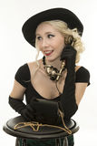 Young woman with a retro phone Royalty Free Stock Photo