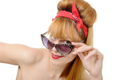 Young woman in retro style with sunglasses Royalty Free Stock Photos
