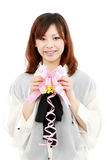 Young woman with a ribbon Royalty Free Stock Photo