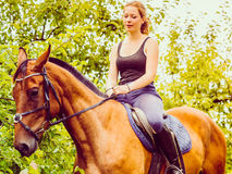 Young woman ridding on a horse Royalty Free Stock Photo